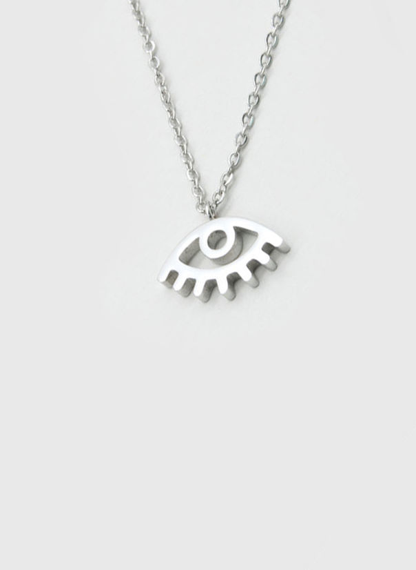 COLLANA KUKO NECKLACE EYE, SILVER, large