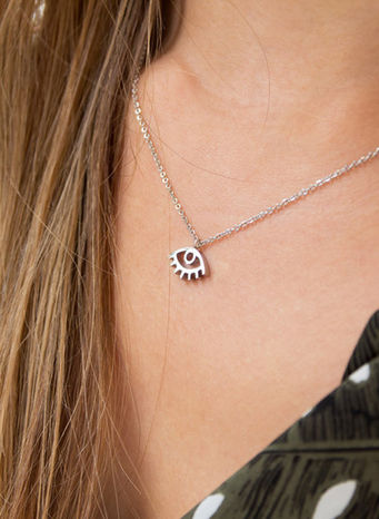 COLLANA KUKO NECKLACE EYE, SILVER, small