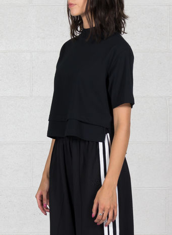 T-SHIRT STACKED LOGO CROP SS TEE, BLACK, small