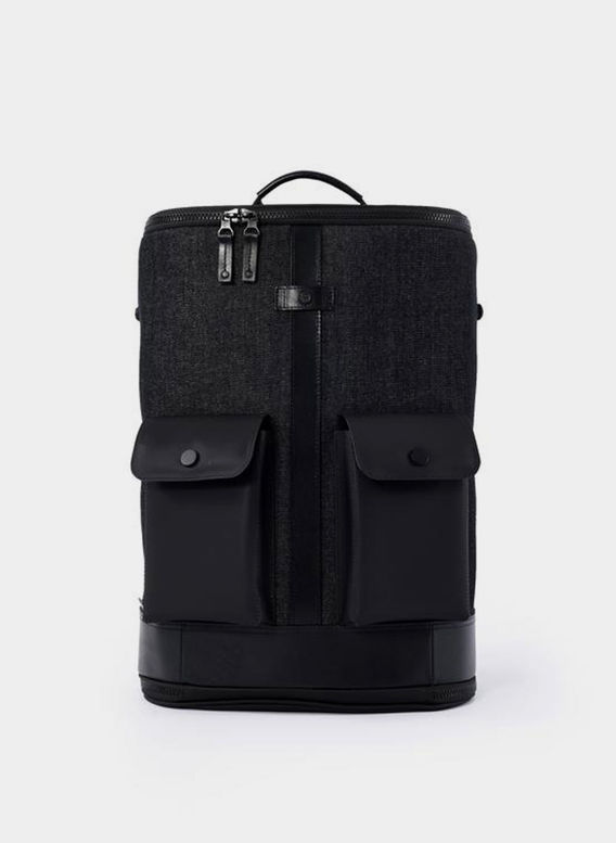 ZAINO CAPTAIN ZIP AROUND BACKPACK, WASHEDDENIMBLACK, medium