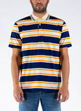 POLO IN COTONE  A RIGHE GUCCI JACQUARD, 4273INKIVORYORANGE, thumb