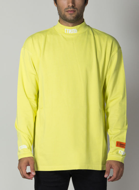 T-SHIRT  TURTLENECK, GREENYELLOW/WHITE, medium