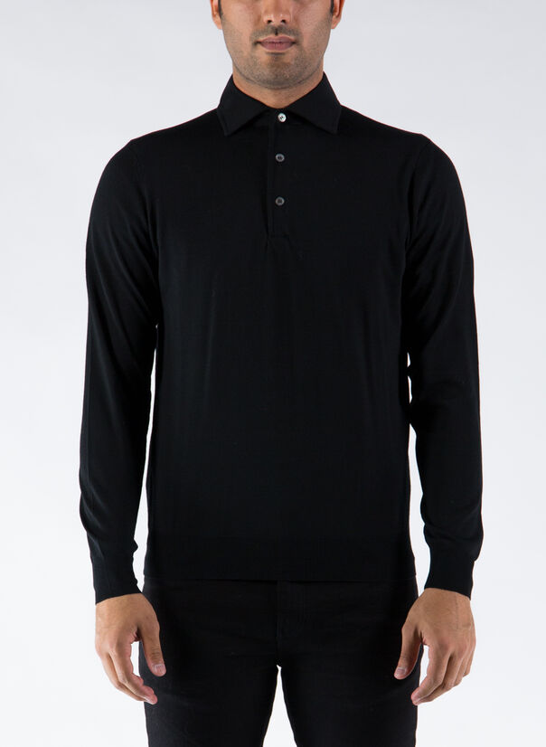POLO A MANICHE LUNGHE, 002BLACK, large