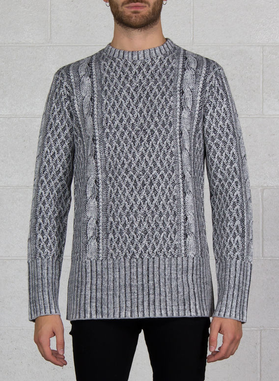MAGLIONE JACQUARD CABLE KNIT PRINTED, 081_OFFWHITE, medium