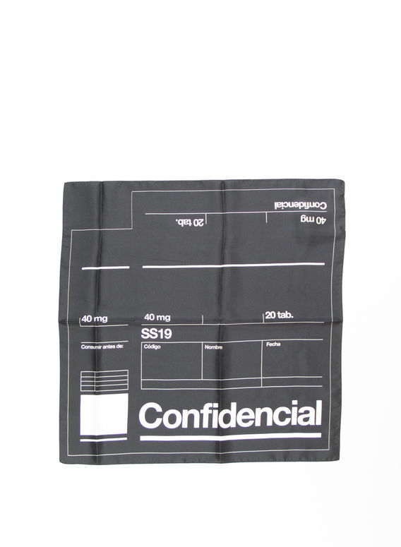 BANDANA LABEL, BLACK/WHITE, medium