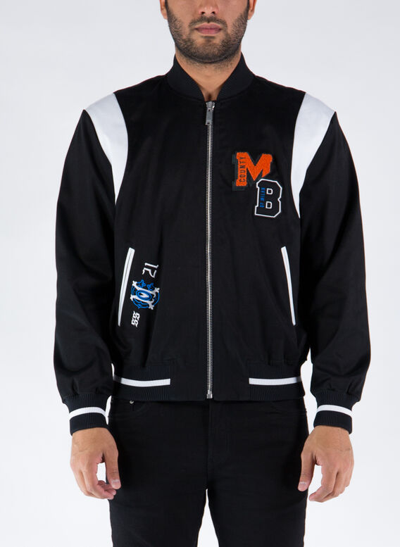 GIUBBOTTO MB COLLEGE TWILL VARSITY JKT, 1020BLACKORANGE, medium