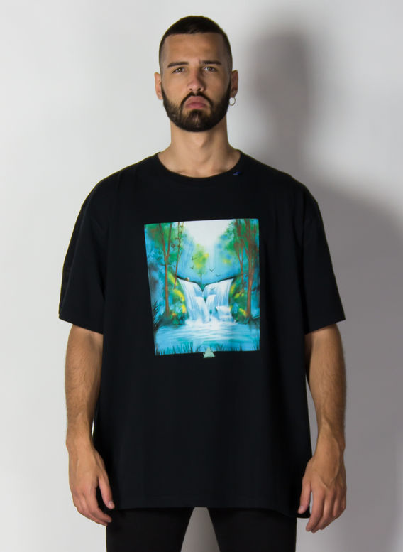 T-SHIRT WATERFALL OVER, BLACK/MULTICOLOR, medium