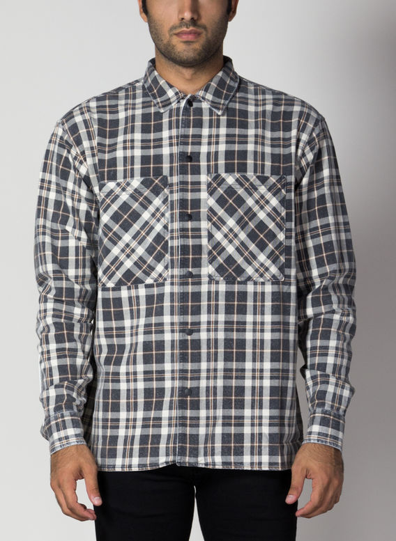 CAMICIA WASHED FLANNEL, BLACK/OFFWHITE, medium