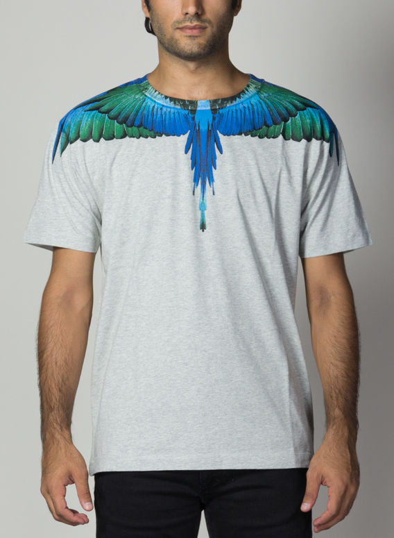 T-SHIRT BLUE WINGS, MELANGEGREY/MULTI, medium