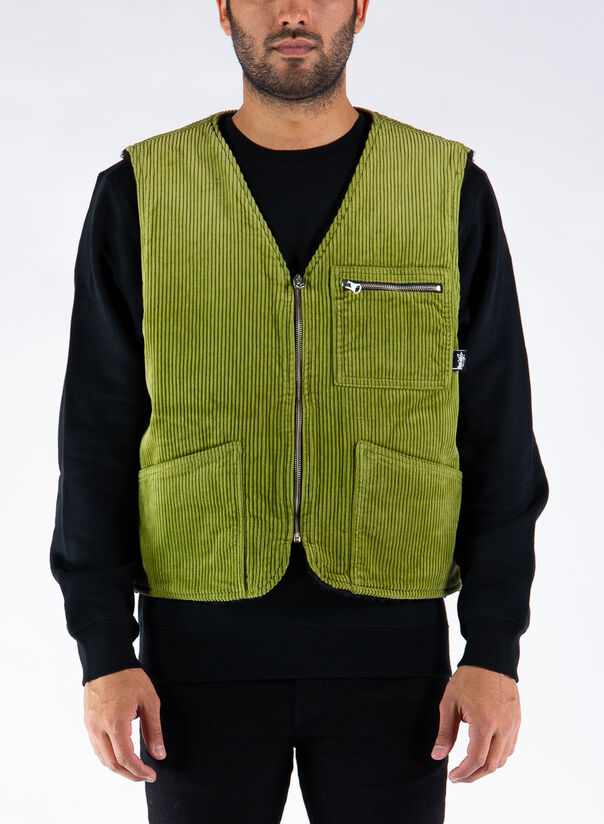 SMANICATO WIDE WALE REVERSIBLE VEST, GREENGREEN, large