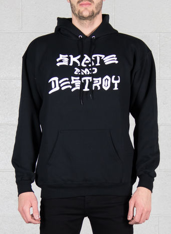 FELPA SKATE AND DESTROY HOOD, BLACK, small
