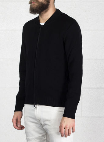 CARDIGAN ZIP, 001BLACK, small