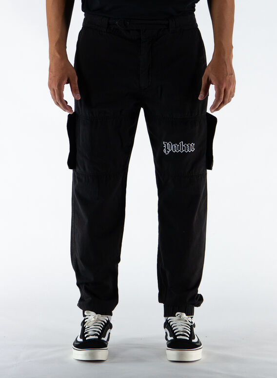 PANTALONE LOGO CARGO, BLACK/WHITE, medium