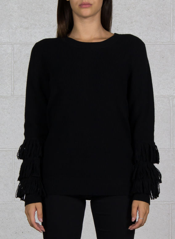 MAGLIONE CON FRANGE, 001BLACK, medium