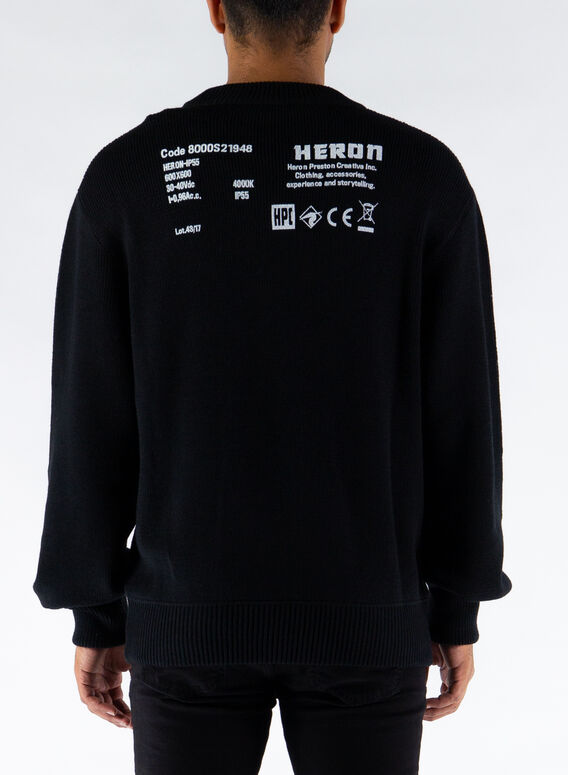 MAGLIONE HERON STAMP KNIT CREWNECK, BLACK/WHITE, medium