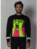 MAGLIONE SCARED FACE SWEATER, BLACK/MULTI, thumb