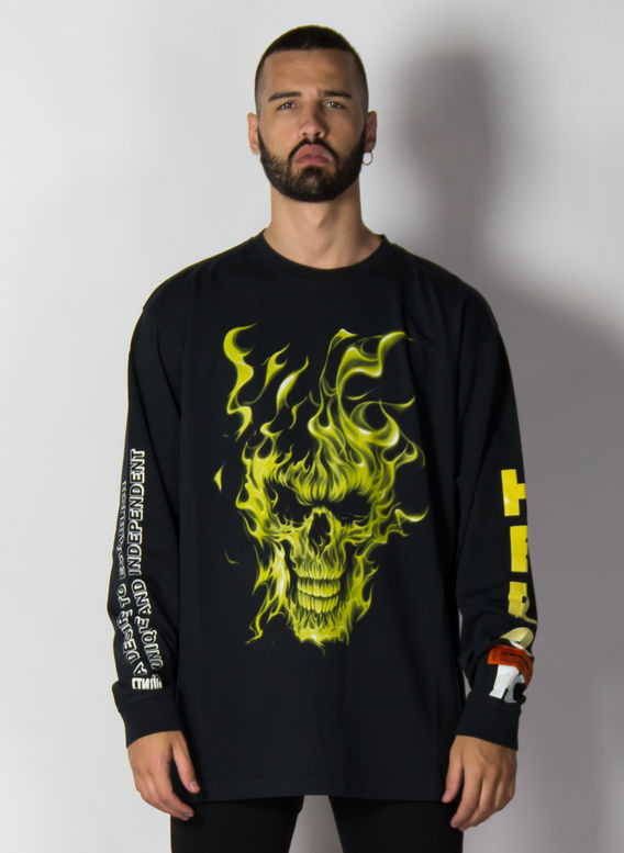 T-SHIRT SKULL OVERSIZE, OFFBLACK/MULTI, medium