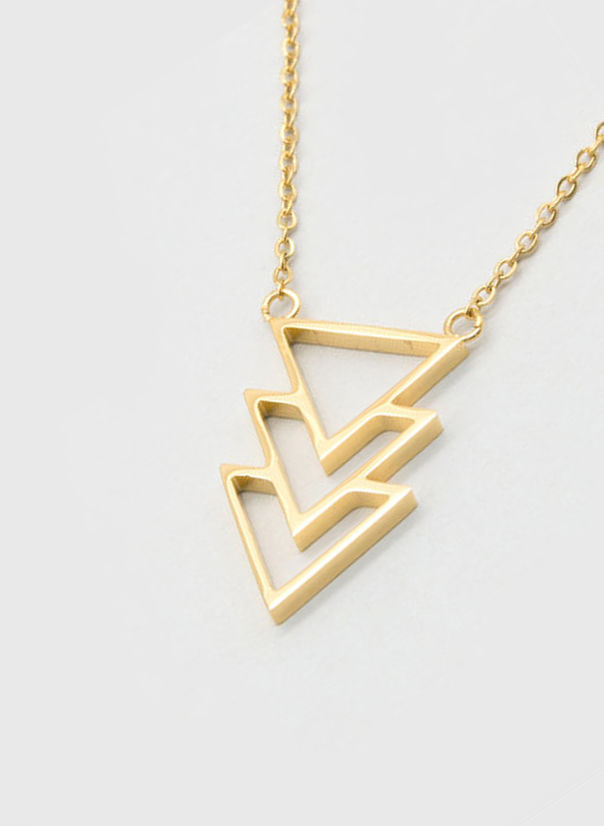 COLLANA KUKO NECKLACE TRIANGLES, GOLD, large