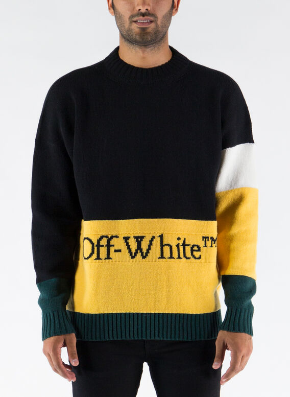 MAGLIONE COLOR BLOCK OFF CREWNECK, BLACK/YELLOW, medium
