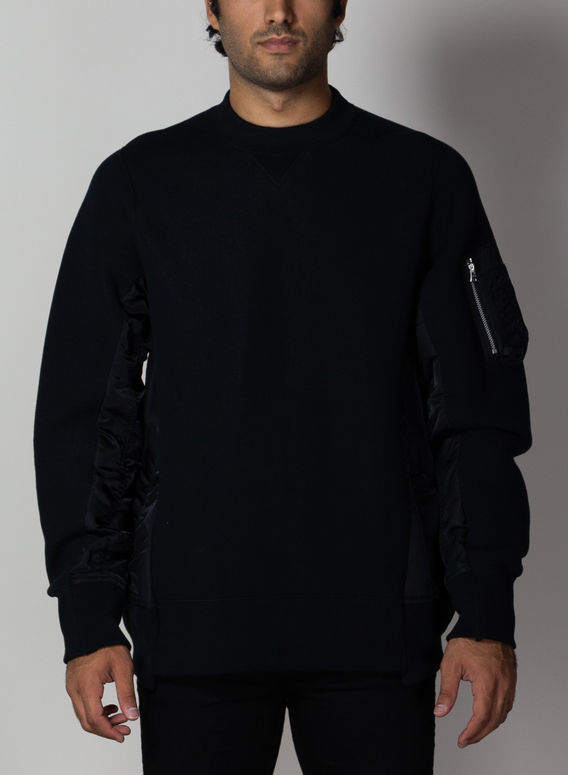 FELPA SPONGE SWEAT X MA-1 PU, 002BLACK/BLACK, medium