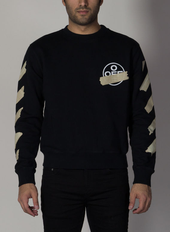 FELPA TAPE ARROW SLIM CREWNECK, BLACK/BEIGE, medium