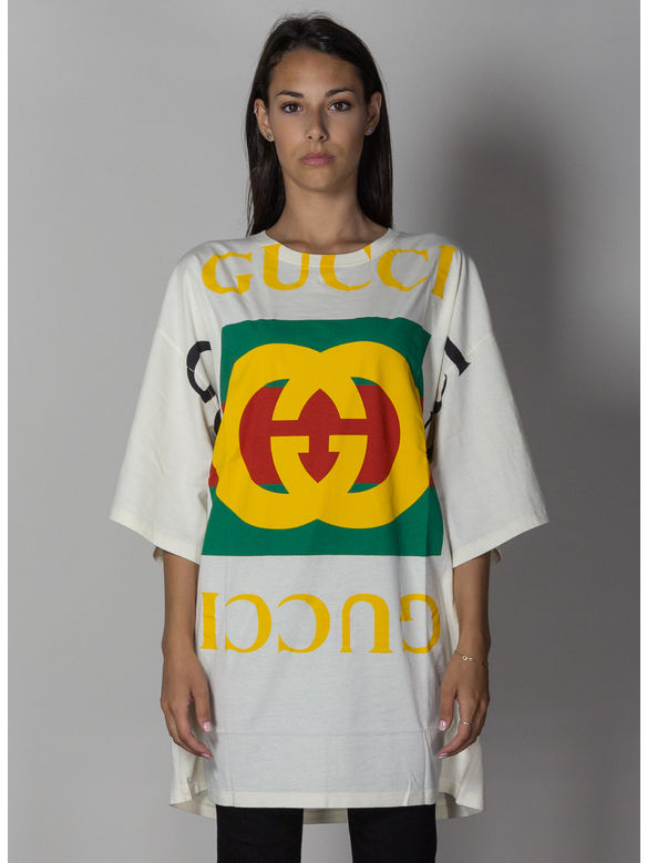 T-SHIRT OVERSIZE CON LOGO GUCCI, 7136SUNSKISSEDMULTI, medium