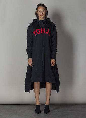FELPA YOHJI LETTERS FULL ZIP LONG HOODIE, BLACK/YOHJIRED, small