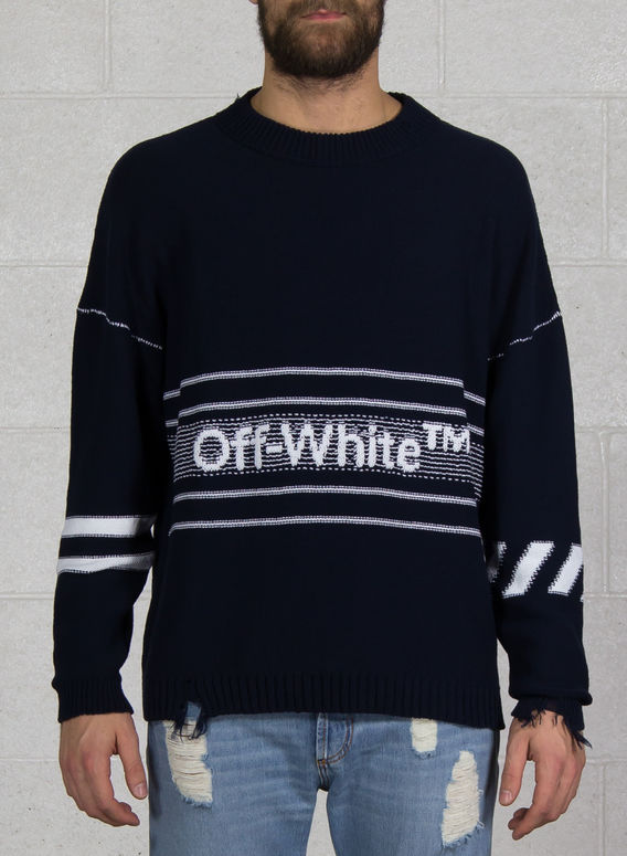 MAGLIONE COTTON OW SWEATER, BLUE, medium
