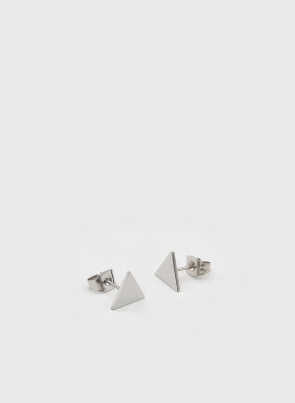 ORECCHINI KUKO EARRINGS TRIANGLES, SILVER, large