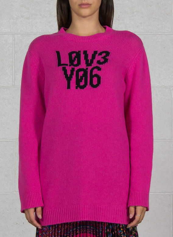 "MAGLIA IN LANA CON JACQUARD ""LOVE YOU"", FA9MAGENTA, medium"
