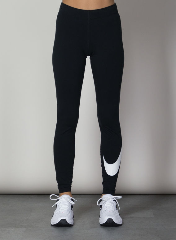 LEGGING LEG-A-SEE SWOOSH, BLACK/WHITE, medium