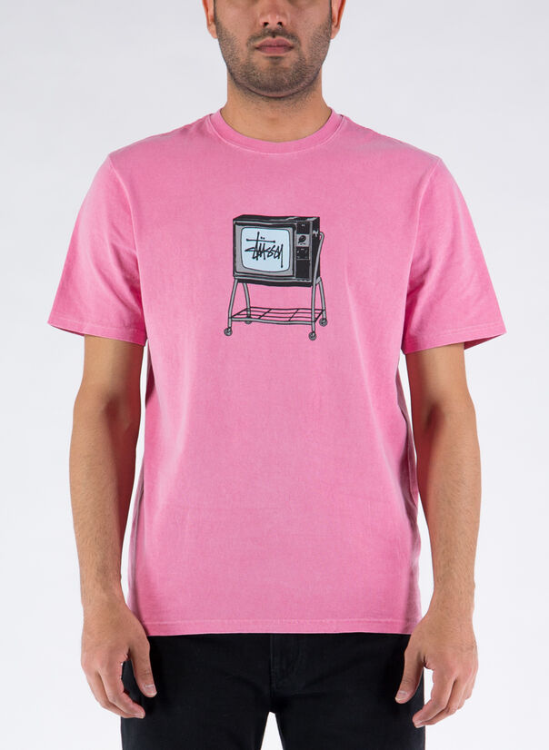 T-SHIRT ROLLING TV PIG. DYED, PINK, large
