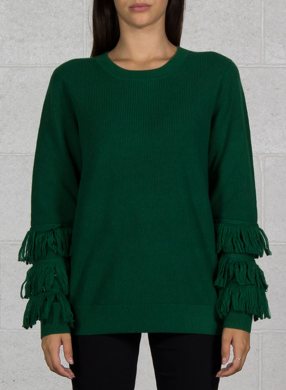 MAGLIONE CON FRANGE, 373JEWELGREEN, medium