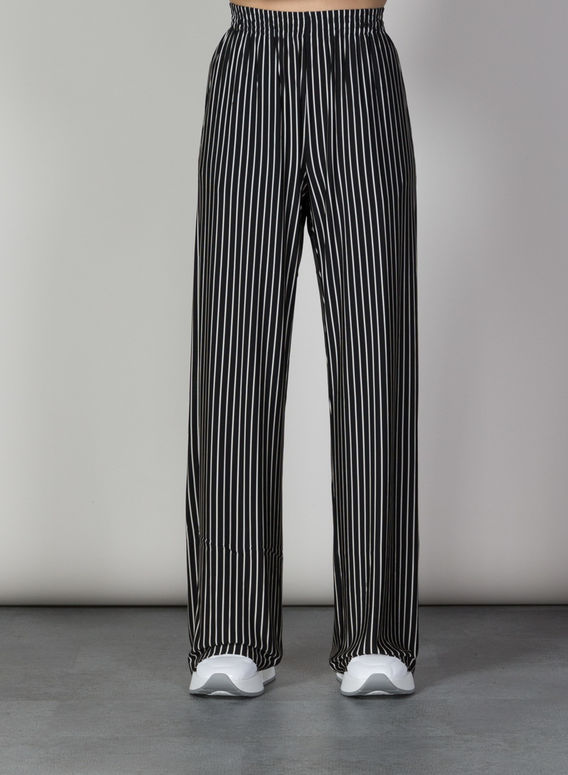 PANTALONE A RIGHE, 001FBLACKWHITESTRIPE, medium