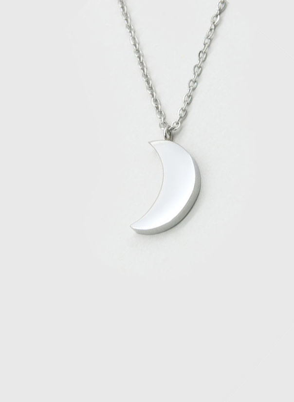 COLLANA KUKO NECKLACE MOON, SILVER, large