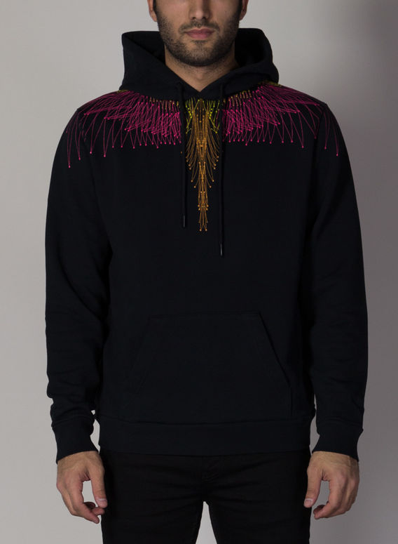 FELPA FALLS WINGS REGULAR HOODIE, BLACK/FUCHSIA, medium