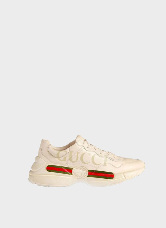 SNEAKER RHYTON IN PELLE CON LOGO GUCCI, 9522, medium